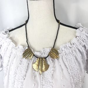 Noonday Gold Bib Statement Beaded Necklace